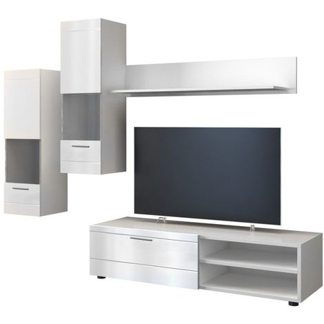 manila ensemble meuble tv moderne salon sejour 5 elements mur tv avec rangements meuble bas 2 vitrines colonnes etagere blanc