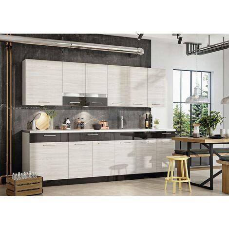 NEXT - Cuisine Complète Modulaire + Linéaire L 260cm 8 pcs - Ensemble Armoires Meubles cuisine - Poignées métal + Égouttoir - Blanc/Gris laqué