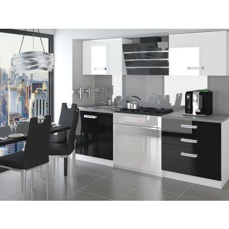 OTTAVA | Cuisine Complète Modulaire Linéaire L 120 cm 4 pcs | Plan de travail INCLUS | Ensemble armoires meubles cuisine - Blanc-Noir