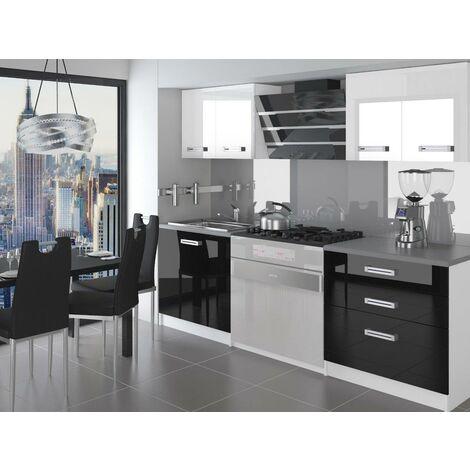 SWING   Cuisine Complète Modulaire + Linéaire L 120cm 4 pcs   Plan de travail INCLUS   Ensemble armoires meubles cuisine - Blanc-Noir