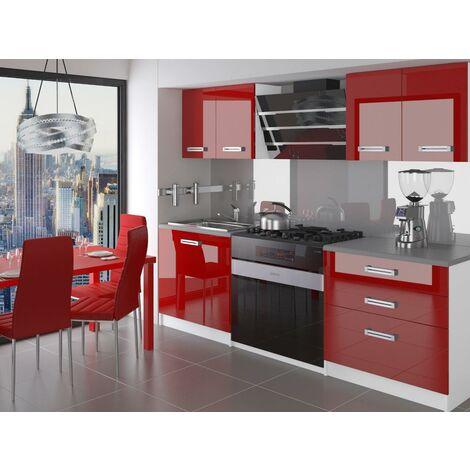 SWING | Cuisine Complète Modulaire + Linéaire 120 cm 4 pcs | Plan de travail INCLUS | Ensemble armoires meubles cuisine - Rouge