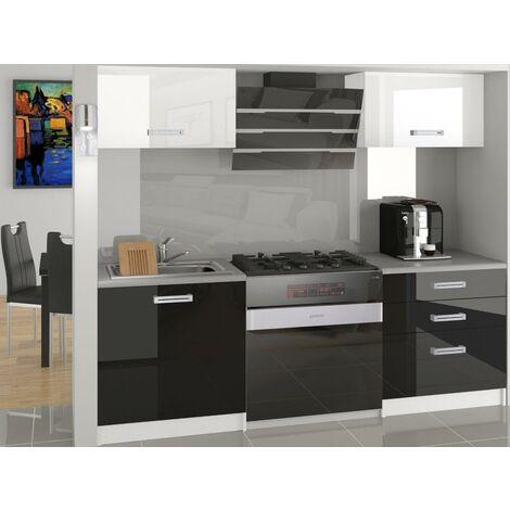 MEZZO | Cuisine Complète Modulaire + Linéaire L 120 cm 4 pcs | Plan de travail INCLUS | Ensemble armoires meubles cuisine - Blanc-Noir
