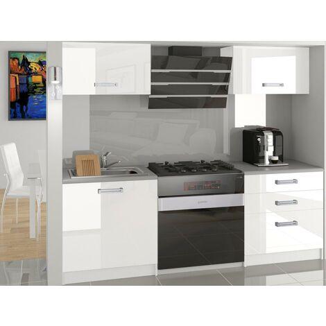 MEZZO   Cuisine Complète Modulaire + Linéaire L 120cm 4 pcs   Plan de travail INCLUS   Ensemble armoires meubles cuisine - Blanc