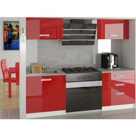 MEZZO | Cuisine Complète Modulaire Linéaire L 120 cm 4 pcs | Plan de travail INCLUS | Ensemble armoires meubles cuisine - Rouge