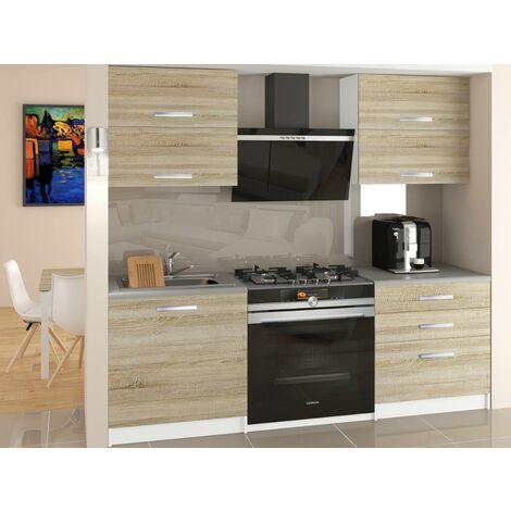 CINDER   Cuisine Complète Modulaire Linéaire L 120 cm 4 pcs   Plan de travail INCLUS   Ensemble armoires meubles cuisine - Sonoma