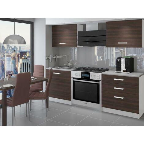 EMBER - Cuisine Complète Modulaire Linéaire L 120 cm 4 pcs - Plan de travail INCLUS - Ensemble armoires meubles cuisine - Châtaigne