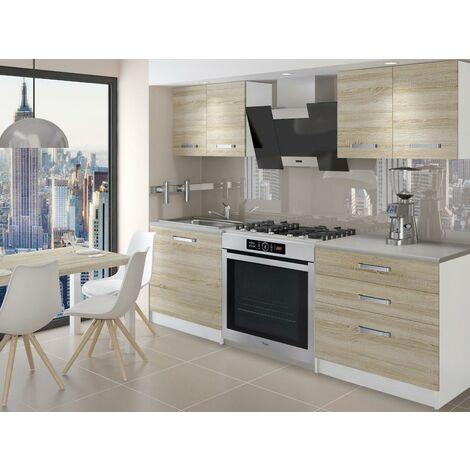 TEMPERA - Cuisine Complète Modulaire + Linéaire L 120 cm 4 pcs - Plan de travail INCLUS - Ensemble meubles de cuisine - Sonoma