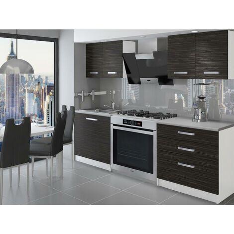 TEMPERA | Cuisine Complète Modulaire + Linéaire L 120 cm 4 pcs | Plan de travail INCLUS | Ensemble armoires meubles cuisine - Ébène