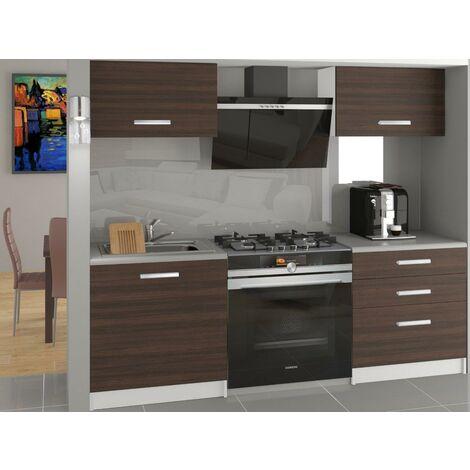ROYAL | Cuisine Complète Modulaire Linéaire L 120 cm 4 pcs | Plan de travail INCLUS | Ensemble armoires meubles cuisine - Châtaigne