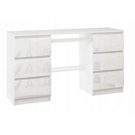 TELDE - Bureau informatique d'ordinateur - 50x140x76cm - 6 tiroirs + étagère imprimante + support clavier - Mobilier bureau - Blanc