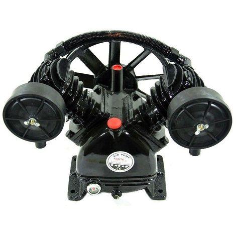 DCRAFT | Tête de compression nue 2 cylindres en fonte 4CV | Débit 600 L/min | Pression maxi 8 Bar | Avec volant et filtre - Noir