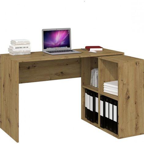 MALOX - Bureau informatique d'angle 2en1 - Bibliothèque Meuble de rangement 4 niches - Table ordinateur multi-rangements - Chêne