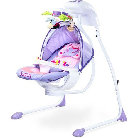 Balancelle électrique mobile rotatif lumières moustiquaire bébé enfant 0-12kg Bugies - Violette
