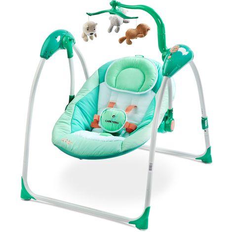 Balancelle électrique avec mode de détection vocale mobile mélodies télécommande bébé enfant 1m+ 12kg Loop - Menthe