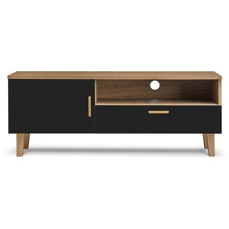 FRILI - Meuble TV style scandinave salon/séjour - 125,5x48,5x46cm - Pieds en bois massif + 1 tiroir + 2 niches de rangement - Noir/Chêne