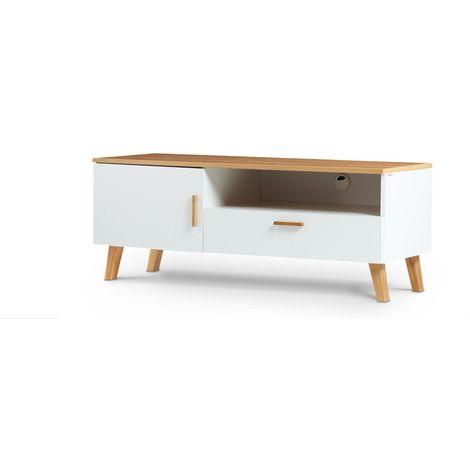 FRILI - Meuble TV style scandinave salon/séjour - 125,5x48,5x46 cm - Pieds en bois massif + 1 tiroir + 2 niches de rangement - Blanc/Chêne