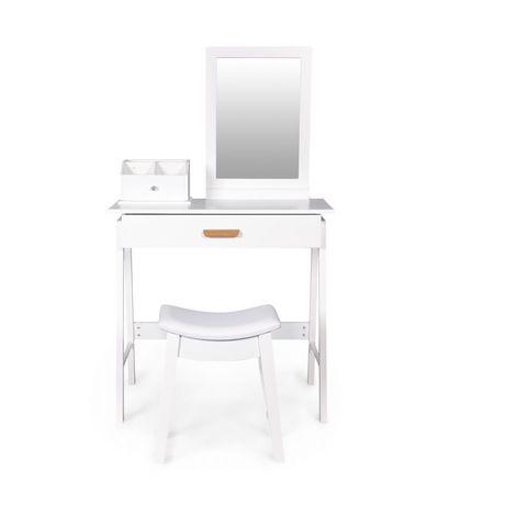 MSTORE   Coiffeuse moderne + tabouret pouf salon/chambre avec pouf   133x80x30 cm   Grand miroir + Rangements - Blanc