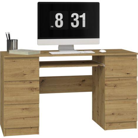 BARI - Bureau informatique d'ordinateur design moderne - 6 tiroirs - Dimensions 76x130x51 - Support coulissant pour clavier - Chêne