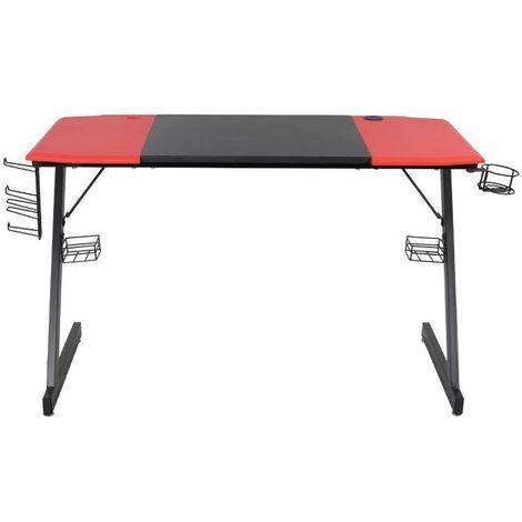 MSTORE - Bureau pour ordinateur gaming - 120x73x60 cm - Table d'ordinateur - Porte gobelet + 2 Passe-câble + Porte-casque - Rouge/Noir