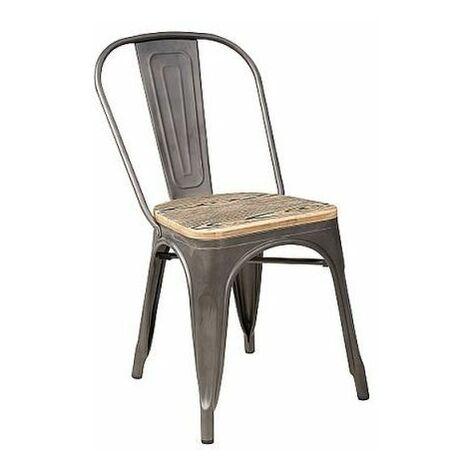 JACK - Chaise style industriel salon/cuisine/salle à manger - 85x37x36 cm - Construction robuste en métal - Chaise loft - Marron