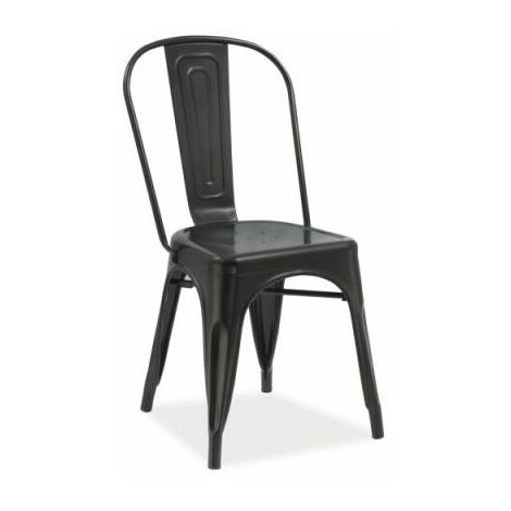 JACK - Chaise moderne style industriel salon/cuisine/salle à manger - 85x37x36cm - Construction robuste en métal - Chaise loft - Noir