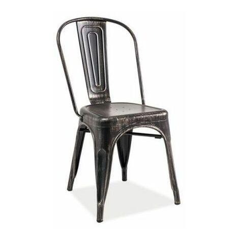 JACK - Chaise moderne style industriel salon cuisine salle à manger - 85x37x36 cm - Construction robuste en métal - Chaise loft - Noir