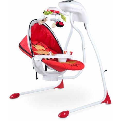 Balancelle électrique mobile rotatif lumières moustiquaire bébé enfant 0-12kg Bugies - Rouge