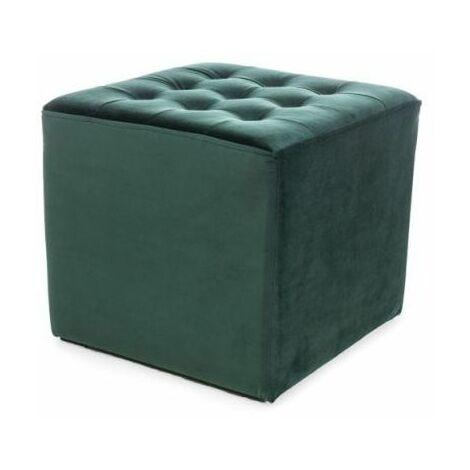 LOTI | Pouf rembourré salon/chambre/acceuil | Dimensions : 34x39x39 cm | Rembourrage en velours | Assise confortable - Vert