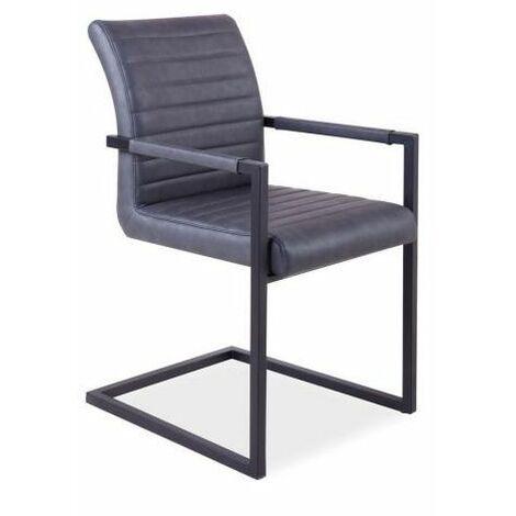 SOLIB - Chaise style industriel avec accoudoirs salon/séjour/bureau - 87x47x44 cm - Rembourrée en similicuir - Base en métal - Gris