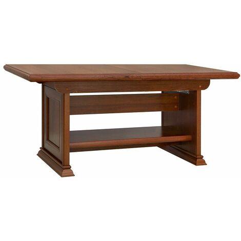 KENTO | Table basse relevable salon/salle à manger | Style classique | 134-174x60-76x67 cm | Hauteur et longueur réglables - Marron