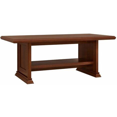 KENTO | Table basse salon/séjour | Style classique | 130x65x51,5 cm | Etagère supplémentaire | Table à café - Marron