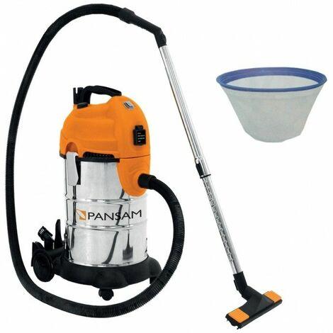 DTOOLS - Aspirateur d'atelier eaux et poussières 1600W - Pression 18kPa + Cuve 30L - Aspirateur chantier atelier - Orange