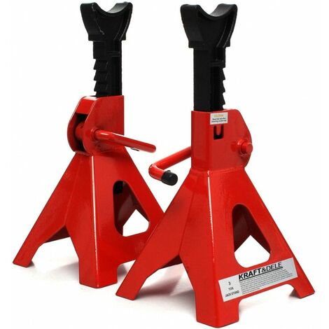 DCRAFT - Jeu de chandelles à crémaillère - 6 tonnes - 2 pièces - Hauteur 380 - 590 mm - Garage automobile - Rouge
