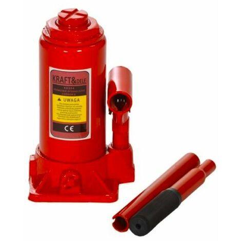 DCRAFT - Cric bouteille vertical - Capacité de levage maximale 5 T - Hauteur 194-372 mm - Vérin de levage - Rouge