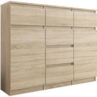 MONACO - Commode contemporaine 120x40x98 cm - Meuble rangement chambre/salon/bureau6 tiroirs coulissants 2 portes - Buffet séjour - Sonoma