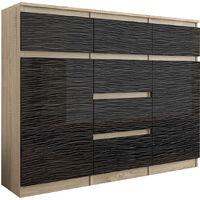 MONACO S2 - Commode contemporaine meuble rangement chambre - 120x40x98 - 6 tiroirs 2 portes - Finition Gloss - Buffet salon - Sonoma/Noir