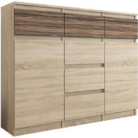 MONACO S1 - Commode contemporaine Meuble rangement - 120x40x98 - 6 tiroirs + 2 portes - Finition Gloss - Buffet séjour/salon - Sonoma/Zebrano