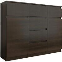 MONACO - Commode style contemporaine meuble rangement chambre/salon/bureau - 120x40x98 - 6 tiroirs coulissants 2 portes - Buffet - Wenge