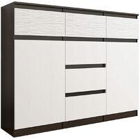 MONACO 3W - Commode contemporaine meuble rangement chambre - 120x40x98 cm - 6 tiroirs 2 portes - Finition Gloss - Buffet séjour - Wenge/Blanc