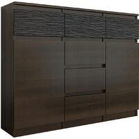 MONACO 1W - Commode contemporaine meuble rangement chambre/salon - 120x40x98 - 6 tiroirs 2 portes - Buffet Design tendance - Wenge/Noir