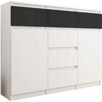 MONACO W1 - Commode contemporaine Meuble Mobilier rangement chambre/salon - 120x40x98 cm - 6 tiroirs 2 portes - Buffet séjour - Blanc/Noir Gloss