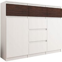 MONACO W1 - Commode contemporaine meuble rangement chambre/salon - 120x40x98 cm - 6 tiroirs - Finition Gloss - Buffet séjour - Blanc/Eben