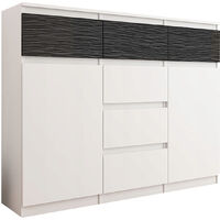MONACO W1 - Commode contemporaine meuble chambre/salon - 120x40x98 - 6 tiroirs 2 portes - Mobilier Finition Tendance - Buffet - Blanc/Noir