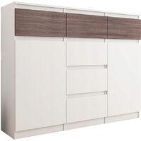 MONACO W1 - Commode contemporaine rangement chambre - 120x40x98| 6 tiroirs 2 portes - Finition Gloss - Buffet meuble salon/séjour - Wenge Gloss