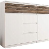 MONACO W2 - Commode contemporaine meuble rangement chambre bureau - 120x40x98 cm - 6 tiroirs + 2 niches - Buffet séjour moderne - Blanc/Zebrano