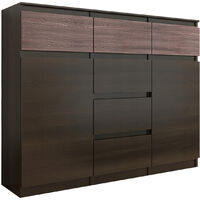 MONACO 1W - Commode contemporaine rangement chambre/salon - 120x40x98 - 6 tiroirs 2 portes - Finition Gloss - Buffet séjour - Wenge Gloss