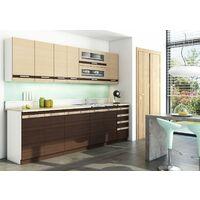 LUNGO - Cuisine Complète Modulaire + Linéaire L260cm 8pcs - Plan de travail INCLUS - Meubles cuisine + placard-égouttoir - Wenge