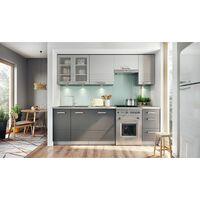 ONYX S - Cuisine Complète Modulaire + Linéaire L 240cm 7 pcs - Ensemble Armoires Meubles cuisine - Finition Mat - Poignées métal - Gris Clair/Gris
