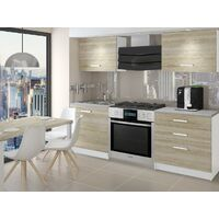 EMBER - Cuisine Complète Modulaire Linéaire L 120 cm 4 pcs - Plan de travail INCLUS - Ensemble armoires meubles cuisine - Sonoma