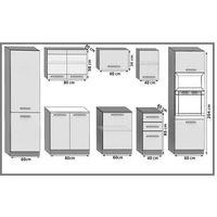 KNOX - Cuisine Complète Linéaire L 300cm 8 pcs - Plan de travail INCLUS - Ensemble meubles cuisine - Acacia
